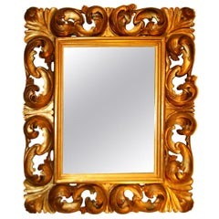 Italian 19th Century Carved and Gilded Limewood Baroque Mirror