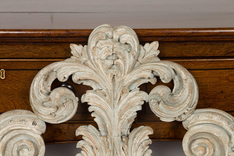 Wood Italian 19th Century Carved and Painted Architectural Fragment with Volutes For Sale