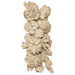 Italian 19th Century Carved and Painted Wooden Fragment with Fruits and Flowers