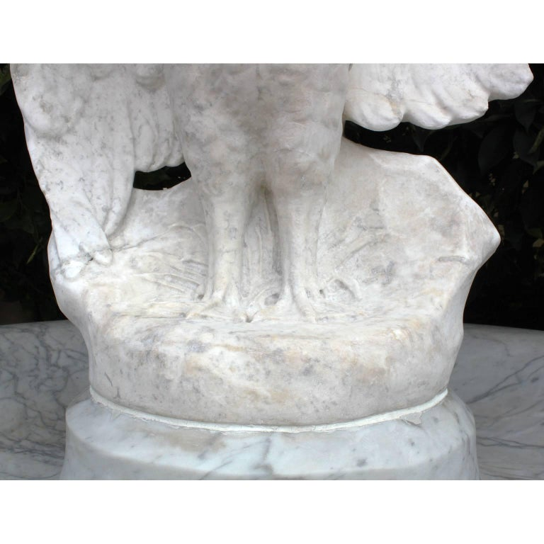 Italian 19th Century Carved Carrara Marble Figural Fountain a Putto on a Goose For Sale 7