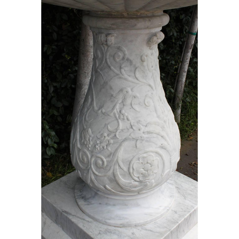 Italian 19th Century Carved Carrara Marble Figural Fountain a Putto on a Goose For Sale 9