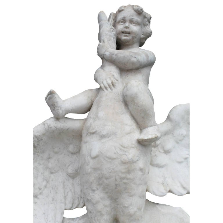 Hand-Carved Italian 19th Century Carved Carrara Marble Figural Fountain a Putto on a Goose For Sale