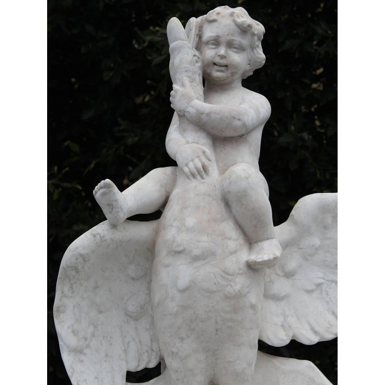 Italian 19th Century Carved Carrara Marble Figural Fountain a Putto on a Goose In Fair Condition For Sale In Los Angeles, CA