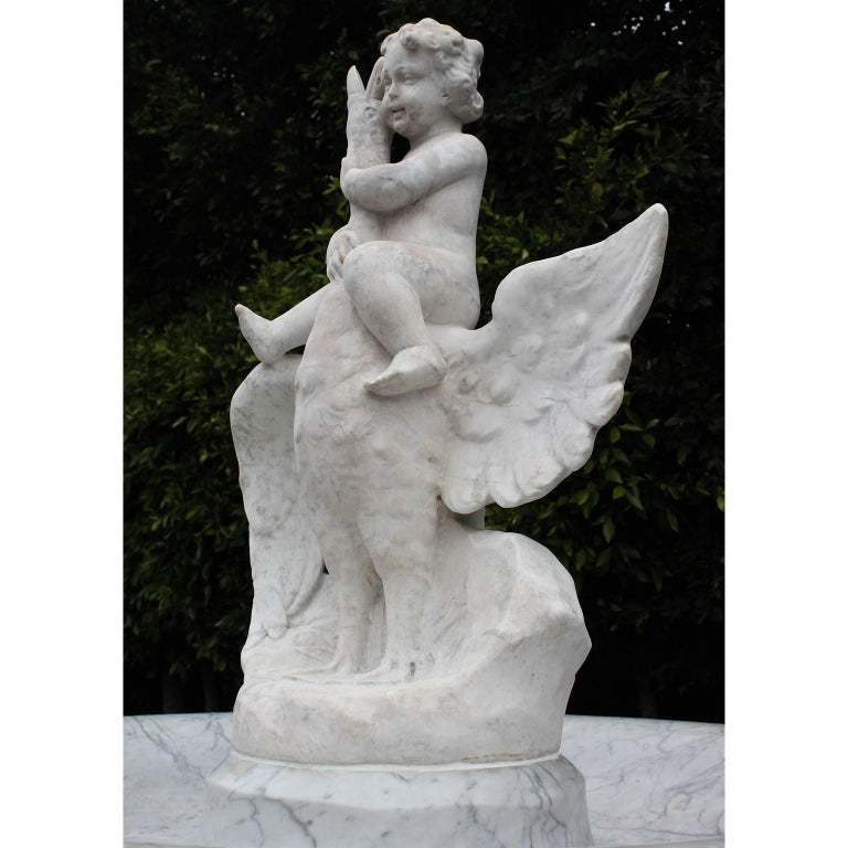 Italian 19th Century Carved Carrara Marble Figural Fountain a Putto on a Goose For Sale 2