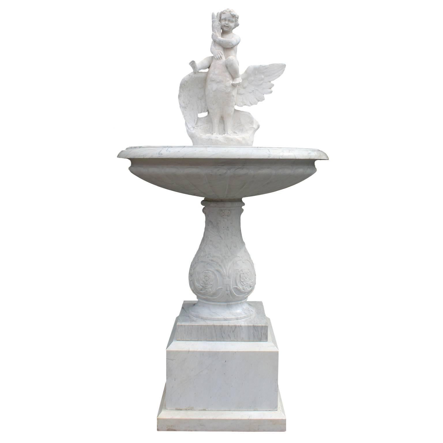 Italian 19th Century Carved Carrara Marble Figural Fountain a Putto on a Goose