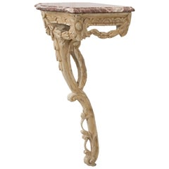 Italian 19th Century Carved Demi-Lune Marble-Top Console Table