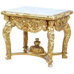Italian 19th Century Carved Gilt Marble-Top Center Table