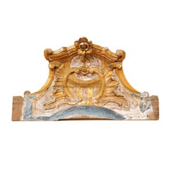 Italian 19th Century Carved, Painted and Gilded Wood Baroque Style Pediment