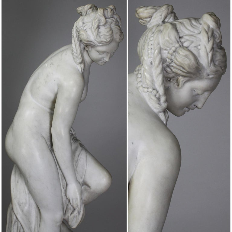 Italian 19th Century Carved White Marble Figure of the Bather or Bathing Venus For Sale 5