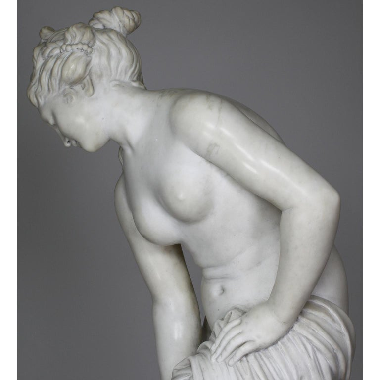 Italian 19th Century Carved White Marble Figure of the Bather or Bathing Venus For Sale 7