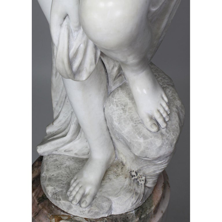 Italian 19th Century Carved White Marble Figure of the Bather or Bathing Venus For Sale 10