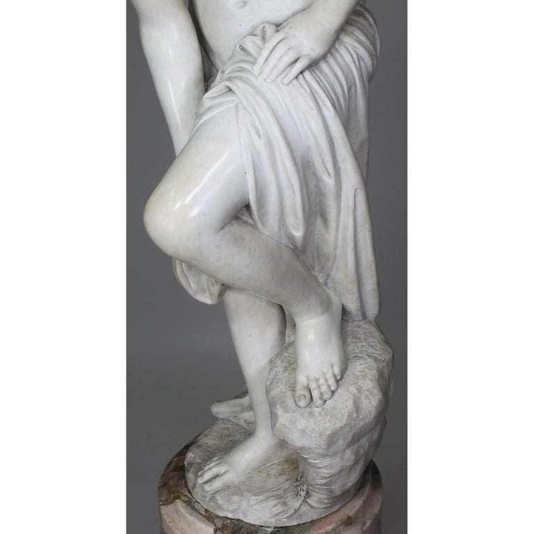 Italian 19th Century Carved White Marble Figure of the Bather or Bathing Venus For Sale 11