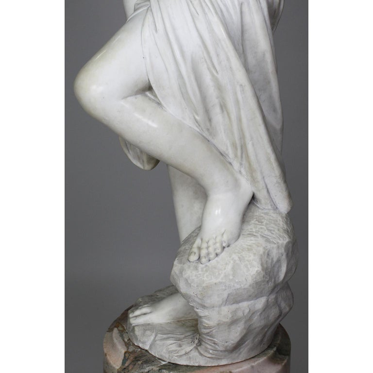 Italian 19th Century Carved White Marble Figure of the Bather or Bathing Venus For Sale 12