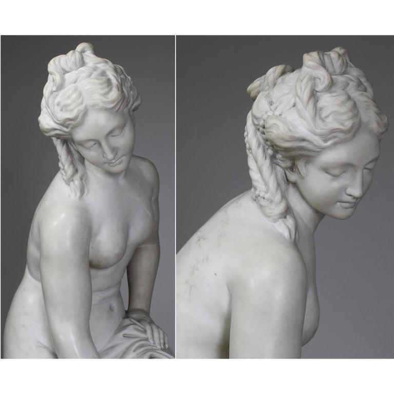 Italian 19th Century Carved White Marble Figure of the Bather or Bathing Venus For Sale 4