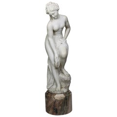 Italian 19th Century Carved White Marble Figure of the Bather or Bathing Venus