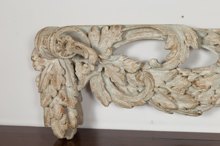 Italian 19th Century Carved Wooden Swag Fragment with Shell and Foliage Motifs For Sale 5