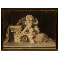 Italian 19th Century Charcoal Grisaille of a Winged Cherub