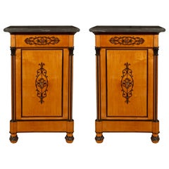 Italian 19th Century Charles X Period Cherrywood and Marble Side Tables/Chests