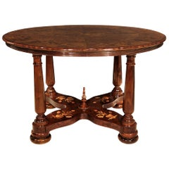 Italian 19th Century Circular Inlaid Center Table