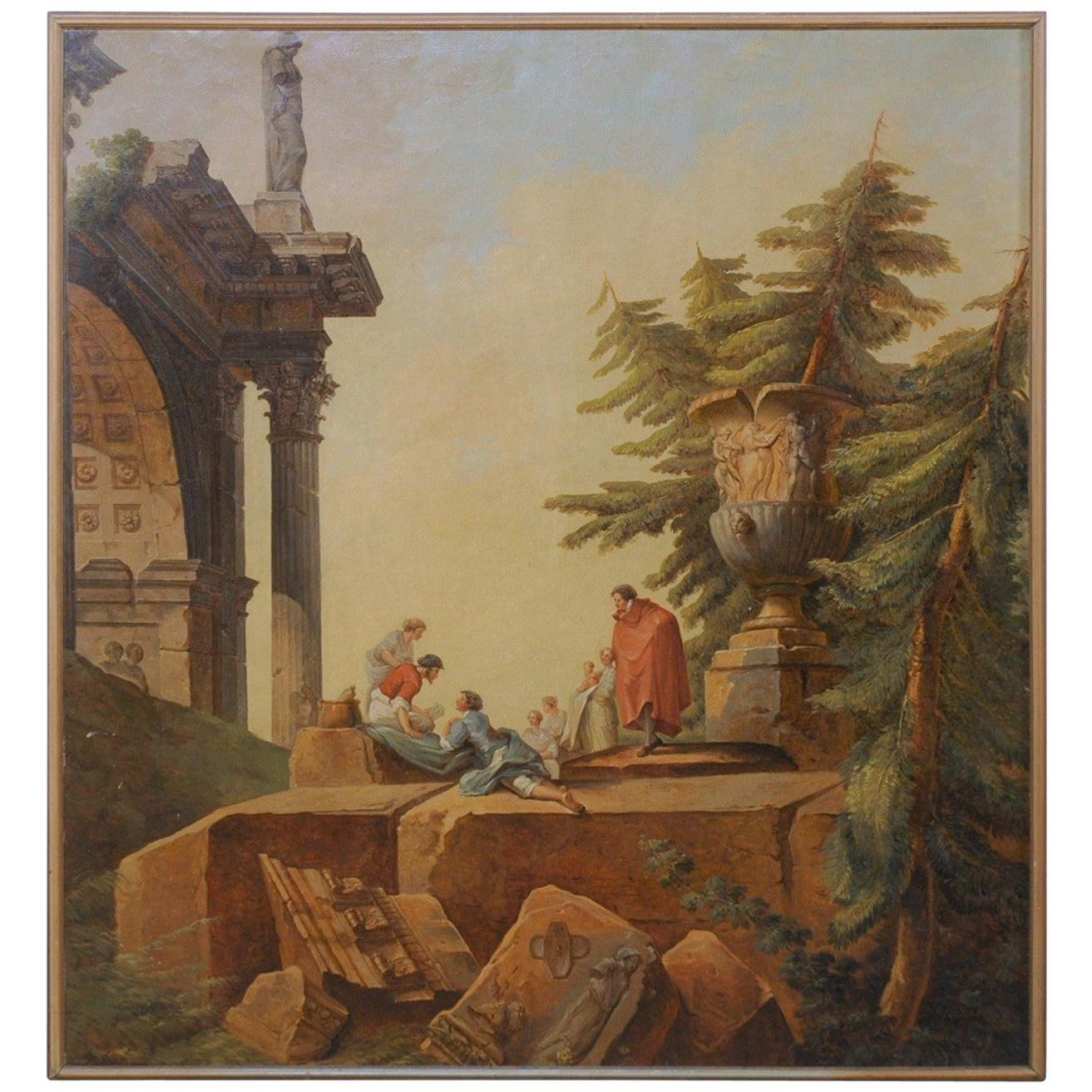 Italian 19th Century Classical Romanesque Framed Wall Painting