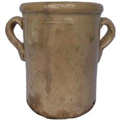 Italian 19th Century Confit Cream Jar with Double Handles