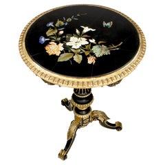Italian 19th Century Ebonized & Parcel Gilt Pietra Dura Side Table, Enrico Bosi