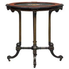 Italian 19th Century Ebony, Burl Walnut, Giltwood and Pietra Dura Side Table