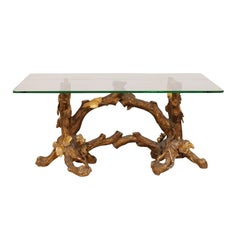 Italian 19th Century Elegantly Carved Gilt Wood Coffee Table with Glass Top