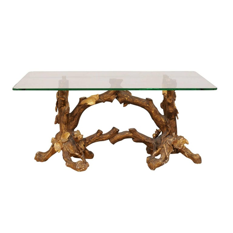 Italian 19th Century Elegantly Carved Gilt Wood Coffee Table With