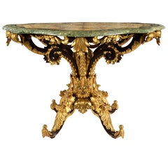 Italian 19th Century Faux Marble, Giltwood Oval Center Table