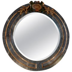 Italian 19th Century Faux Marble Green and Gold Round Wood Framed Mirror