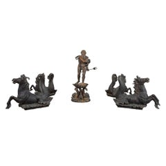 Italian 19th Century Five-Piece Bronze Fountain Grouping, Signed V. Cinque