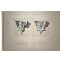 Italian 19th Century Florence Architectural Decoration Hand-Colored Print