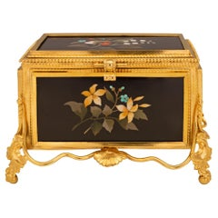 Italian 19th Century Florentine St. Pietra Dura and Ormolu Box