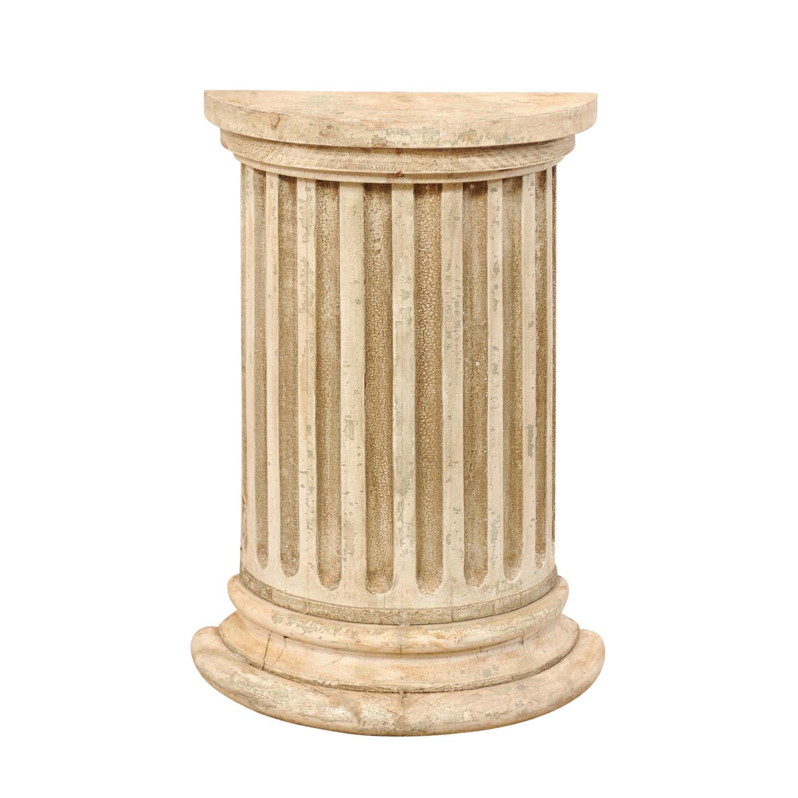 Italian 19th Century Fluted Half Column Pedestal