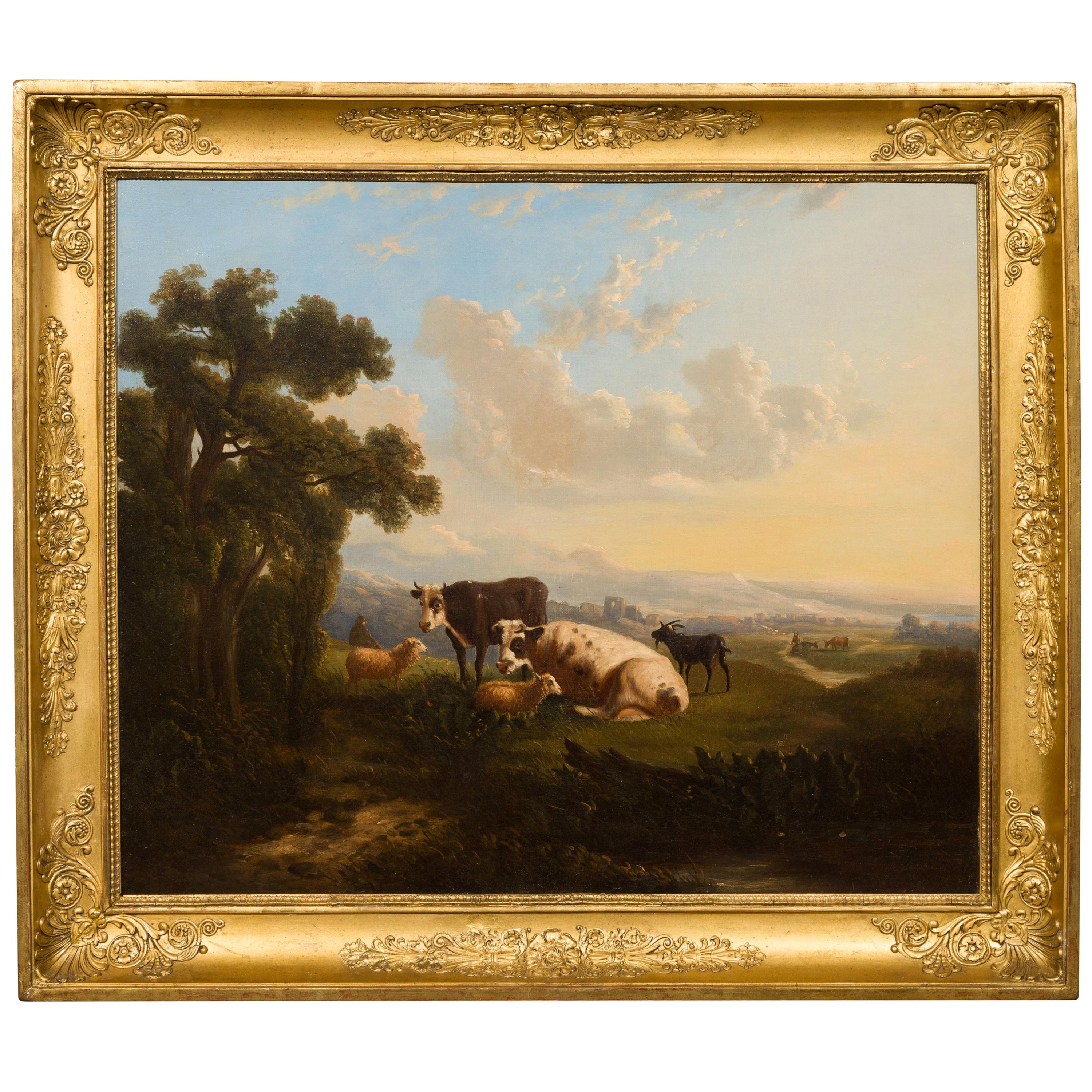 Italian 19th Century Framed Oil on Canvas Painting Depicting Cows in Pastures