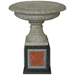 Italian 19th Century Gadroon Shaped Urn/Fountain in 'Verde Antonio' Marble