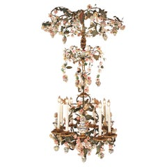 Italian 19th Century Gilt Iron and Porcelain Eight-Light Chandelier