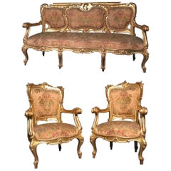 Italian 19th Century Gilt Living Room Suite with a Sofa and Pair of Armchairs