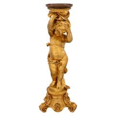 Italian 19th Century Giltwood and Faux Painted Marble Pedestal