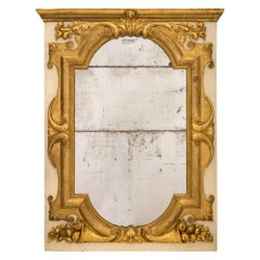 Italian 19th Century Giltwood and Patinated Off-White Mirror