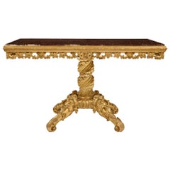 Italian 19th Century Giltwood and Rouge Griotte Marble Center Table
