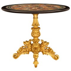 Italian 19th Century Giltwood and Specimen Marble Side/Center Table