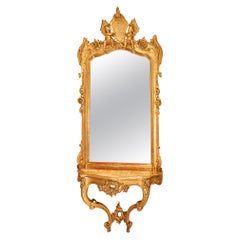 Italian 19th Century Giltwood Console and Mirror