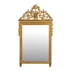 Italian 19th Century Giltwood Crested Mirror with Carved Birds and Olive Wreath