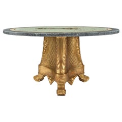Italian 19th Century Giltwood, Marble and Mosaic Circular Coffee Table