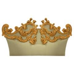 Italian 19th Century Giltwood Upholstered Headboard