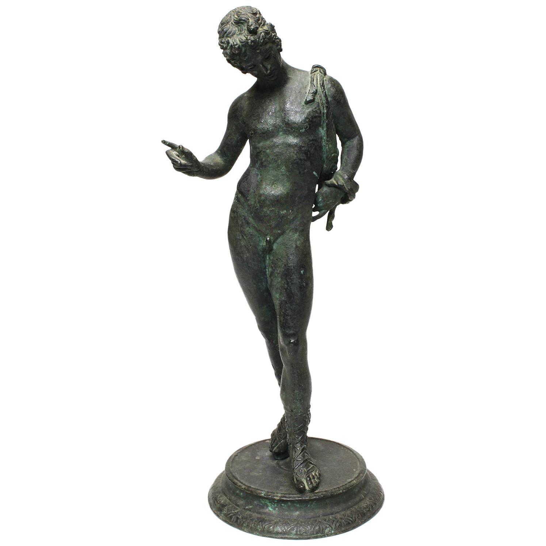 Italian 19th Century Grand Tour Bronze Sculpture of Narcissus, after Pompeii