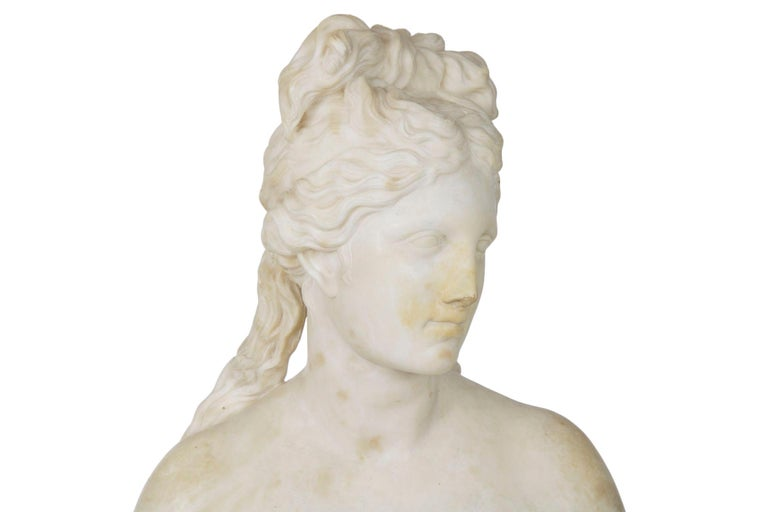 This Grand Tour bust of the Capitoline Venus was carved after the antique, the work is signed on the integral plinth V. Campidoglio and was executed during the second half of the 19th century. It is captures Aphrodite immediately before taking a