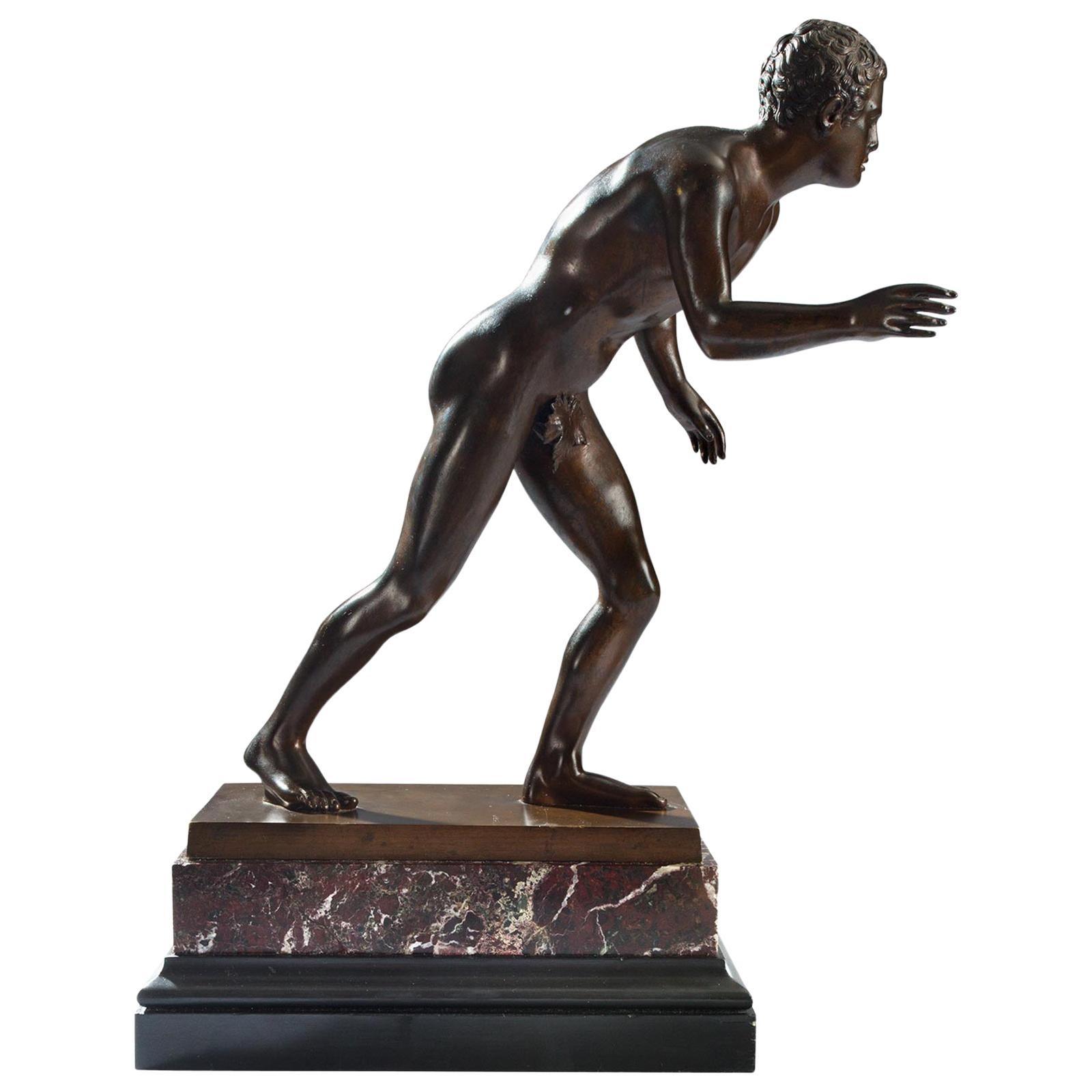 Italian 19th Century Grand Tour Period Patinated Bronze of a Roman Athlete